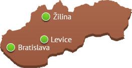 Naše sklady: Žilina, Levice, Bratislava